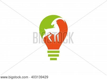 Stylized Silhouette Face Goat. Goat Head Logo Vector. Goat Logo Design With Electric Bulb Concept