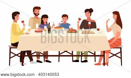 Family At An Italian-style Evening Dinner. Relatives Are Communicating At The Dining Table. Table Wi