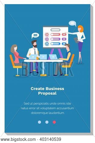People Create Business Proposal. Colleagues Make Decisions At Meeting. Website Landing Page Template