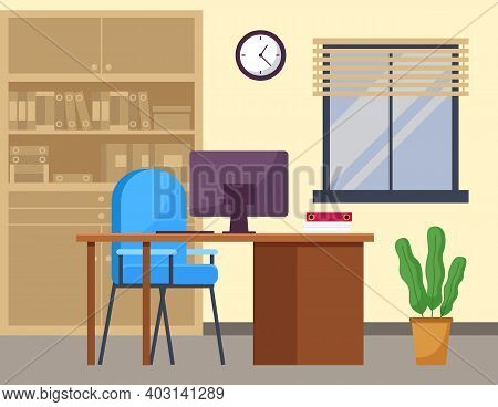 Modern Workplace Flat Design. Office Chair And Office Desk With Stack Of Books In Comfortable Room I