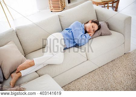 Top Above High Angle View Of Attractive Girl Lying On Divan Sleeping Day In Light Flat House Apartme