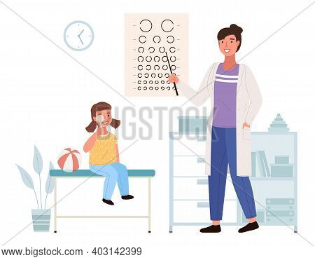 Optometrist Checks The Child S Eyesight. Table For Testing Visual Acuity In The Medical Office. Doct