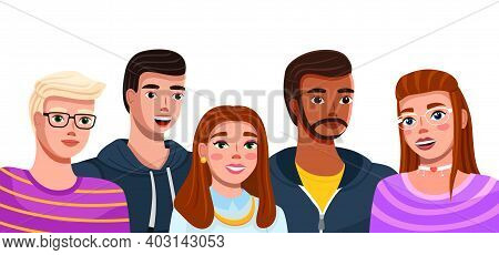 Group Of Fashion Cartoon Young People. Teenagers Boys And Girls Standing Together Isolated On White.