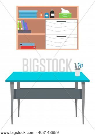 Interior Equipment Of A Medical Office Wooden Wall Shelf With Books And Medicines And Table With Sta