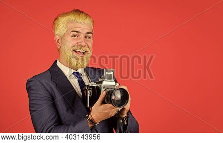 Classy And Old School. Manual Settings. Photographer With Blond Beard And Mustache. Content Creator.