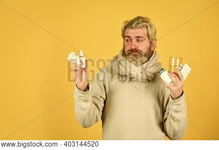 Unhealthy Man Holding Pills And Water Glass. Medication And Increased Fluid Intake. Cough Cold And R