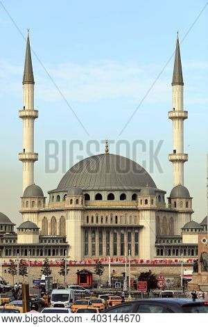 Istanbul, Turkey - October 07, 2020. Newly Built Taksim Mosque At The Famous Taksim Square. Beyoglu