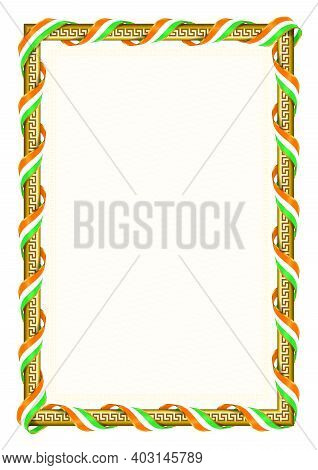 Vertical  Frame And Border With Ivory Coast Flag, Template Elements For Your Certificate And Diploma