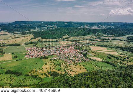 Aerial Drone Shot Of Village Boll Near Burg Hohenzollern In Germany