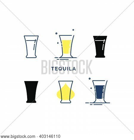 Set Of Glasses With Tequila In Different Styles. Shot Glass Drinks. Template Alcohol Beverage For Re