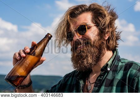 Cheers. Water Balance In Body. Stay Hydrated. Relax And Refreshment. Modern Looking Bearded Hipster