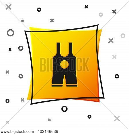 Black Wrestling Singlet Icon Isolated On White Background. Wrestling Tricot. Yellow Square Button. V