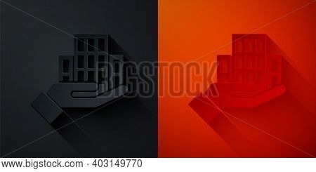 Paper Cut Skyscraper Icon Isolated On Black And Red Background. Metropolis Architecture Panoramic La