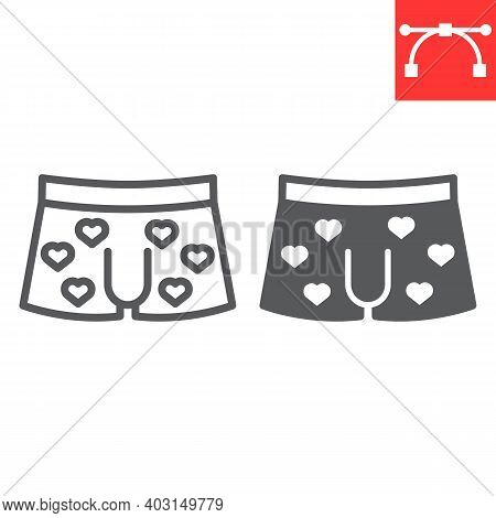 Men Underwear Line And Glyph Icon, Valentines Day And Clothes, Sexy Underwear Sign Vector Graphics,