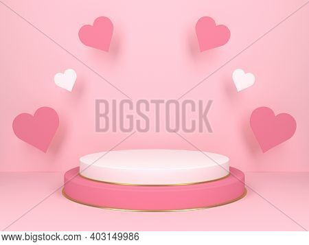 Pink Podium With Hearts. Wedding And Valentines Day Concept. 3d Rendering