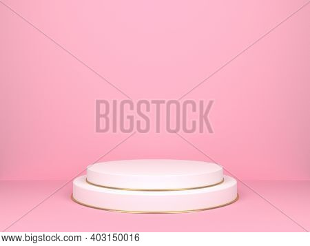 White Round Stage On Pink Background. 3d Rendering