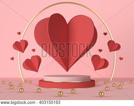 3d Podium With Red Hearts And Decoration. Valentines Day Card. 3d Rendering