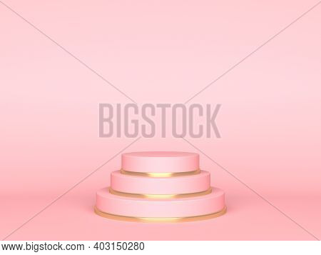 Pink Round Stage On Pink Background. 3d Rendering