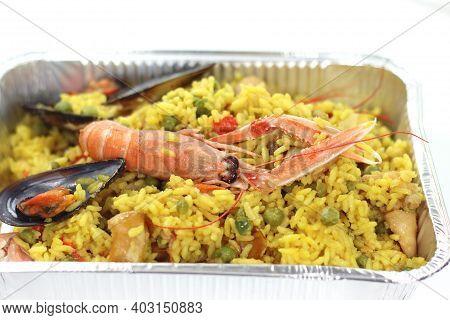 Rotisserie Prepared Valencian Paella Risotto With Sea Fish