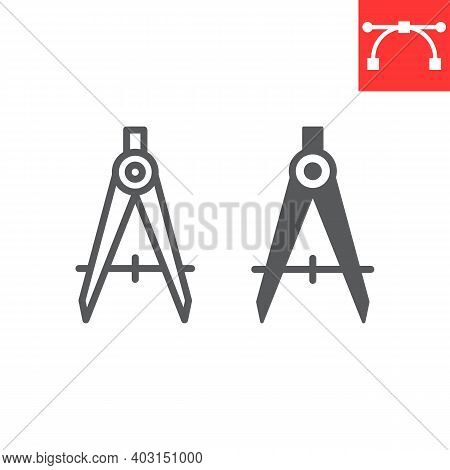 Divider Line And Glyph Icon, Compass And Architect, Divider Sign Vector Graphics, Editable Stroke Li