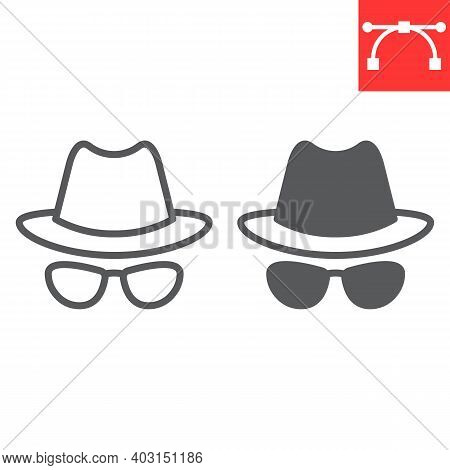 Spy Agent Line And Glyph Icon, Security And Detective, Hacker Sign Vector Graphics, Editable Stroke