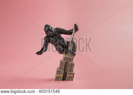 King Kong Souvenir On The Empire State Building, On Pink Background