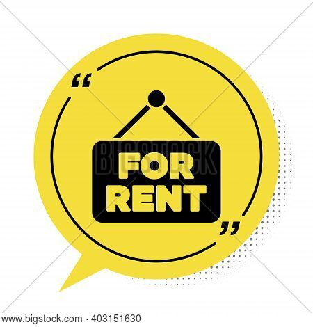 Black Hanging Sign With Text For Rent Icon Isolated On White Background. Signboard With Text For Ren