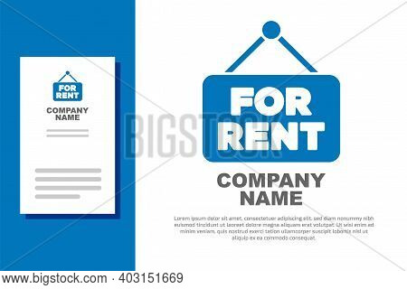 Blue Hanging Sign With Text For Rent Icon Isolated On White Background. Signboard With Text For Rent