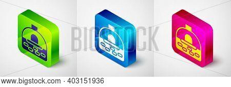 Isometric Brick Stove Icon Isolated On Grey Background. Brick Fireplace, Masonry Stove, Stone Oven I