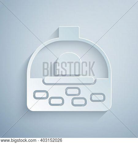 Paper Cut Brick Stove Icon Isolated On Grey Background. Brick Fireplace, Masonry Stove, Stone Oven I
