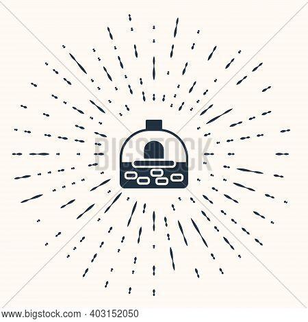 Grey Brick Stove Icon Isolated On Beige Background. Brick Fireplace, Masonry Stove, Stone Oven Icon.
