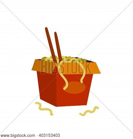 Box Of Noodles. Asian Fast Food With Chopsticks. Red Packaging Of Macaroni. Japanese And Chinese Jun