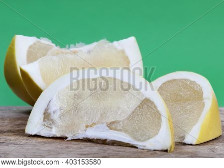 Cut Into Pieces Juicy And Delicious Yellow Pomelo, Yellow Citrus Fruit, Very Sweet Pomelo