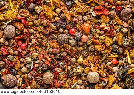 A Mixture Of Different Spices Close Up. Textures Of Colorful Spices And Condiments.colorful Herbal A
