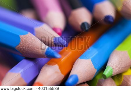 Ordinary Colored Wooden Pencil With Soft Lead Of Different Colors For Drawing And Creativity, Closeu