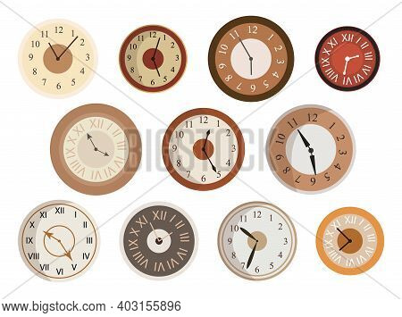 Antique Clocks Face Set. Various Round Dials Collection With Roman And Arabic Numerals. Beautiful Vi