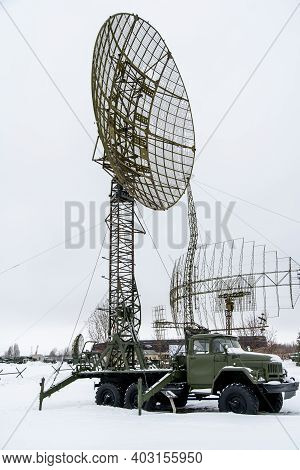 A Military Vehicle With A Radar Tower. Military Equipment