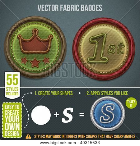 Vector fabric badges. 55 styles included for your design