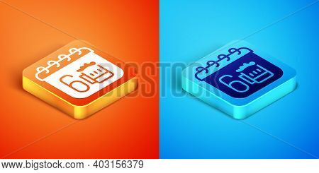 Isometric Saint Patricks Day With Calendar Icon Isolated On Orange And Blue Background. Four Leaf Cl