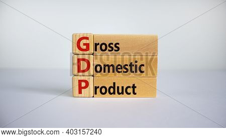Gdp, Gross Domestic Product Symbol. Concept Word 'gdp, Gross Domestic Product' On Cubes On A Beautif