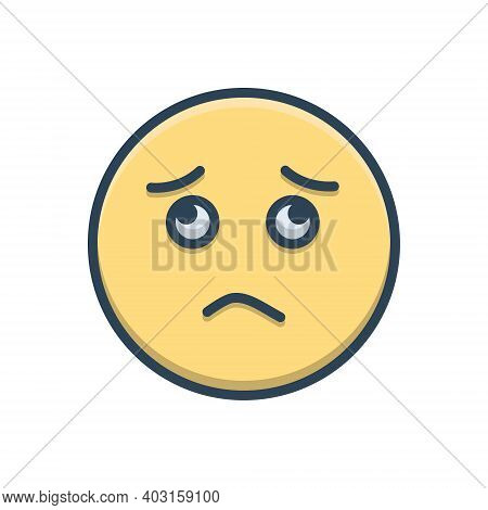 Color Illustration Icon For Worried Sadness Gloomdoldrums Boredom