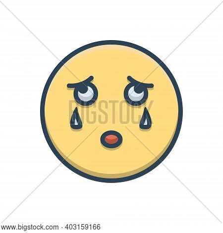 Color Illustration Icon For Cry Weep Mourn Bemoan