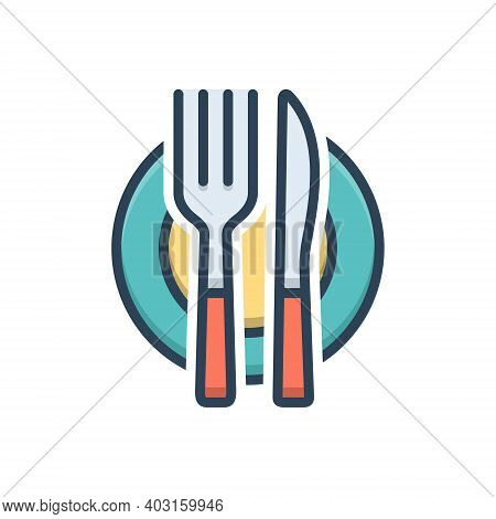 Color Illustration Icon For Cutlery Silverware Dinnerware Restaurant Food