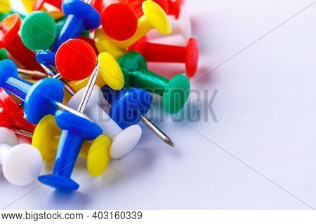 Pile Of A Push Pin Isolated On White Background.push Pins Isolated On White Background. Colourful Pu
