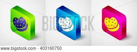 Isometric Bath Sponge Icon Isolated On Grey Background. Sauna Sponge. Square Button. Vector