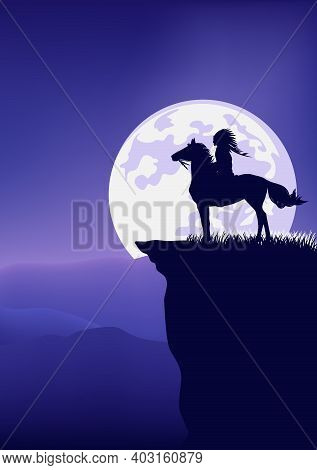Native American Tribal Chief Riding Horse Standing At Mountain Cliff Against Full Moon - Legend Wild