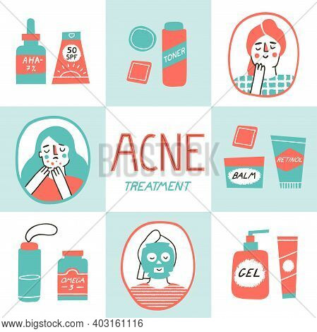 Acne Skin Concept. Skincare And Dermatology Elements Set. Teen Girl Doing Her Routine And Rituals As