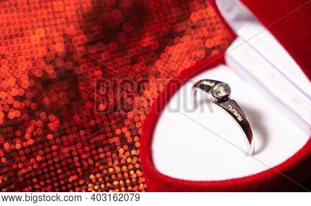 Close Up Of An Engagement Ring With Diamonds, Love Concept