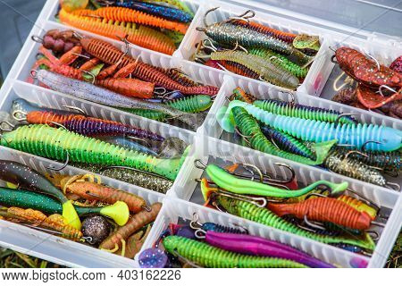 A Large Fisherman's Tackle Box Fully Stocked With Lures And Gear For Fishing.fishing Lures And Acces