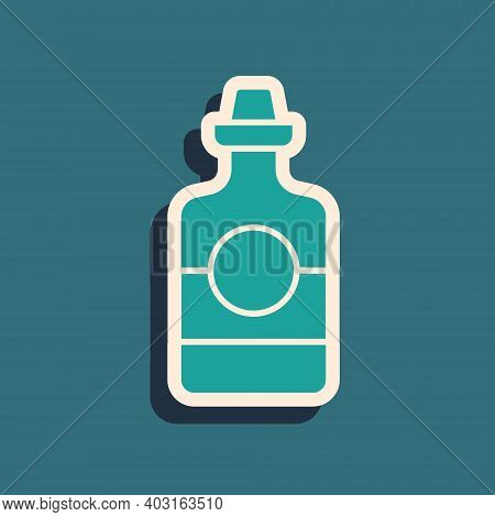 Green Tequila Bottle Icon Isolated On Green Background. Mexican Alcohol Drink. Long Shadow Style. Ve